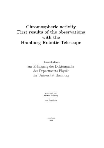 Chromospheric activity First results of the observations with the ...