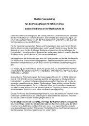 Praxisvertrag HS 21 011110 - Hochschule 21