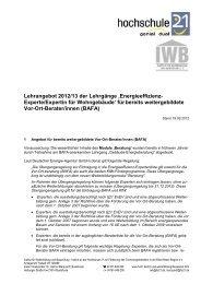 Lehrangebot 2012/13 der Lehrgänge ... - Hochschule 21
