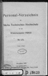Personalverzeichnis Wintersemester 1920/21