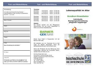 Flyer Lebensqualität im Alltag 1 - nur Kinaesthetics - Hochschule 21