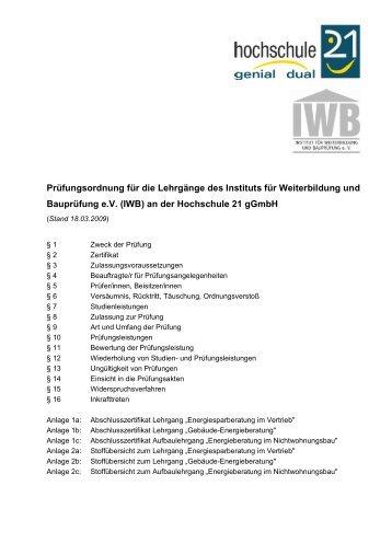 Prüfungsordnung für die Lehrgänge des Instituts für ... - Hochschule 21