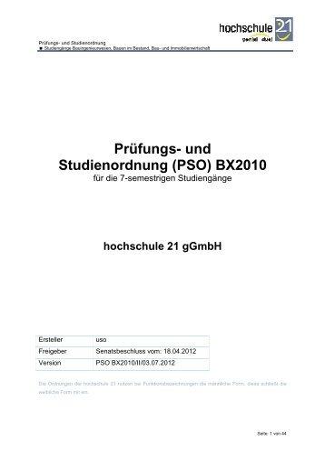 und Studienordnung (PSO BX 2010) - Hochschule 21