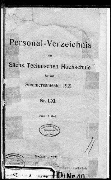 Personalverzeichnis Sommersemester 1921