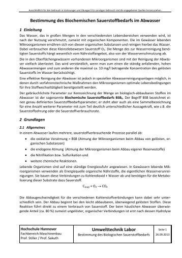 Umwelttechnik Labor - Hochschule Hannover