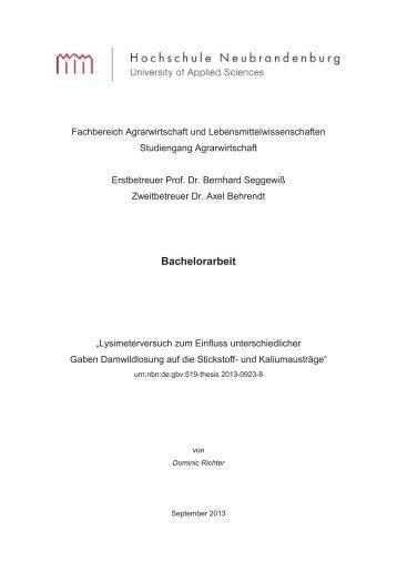 Bachelorarbeit - Hochschule Neubrandenburg