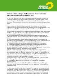 Antwort auf die Anliegen des Bayerischen Bauernverbandes zur ...