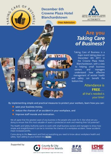 Are you Taking Care of Business? - Health and Safety Authority