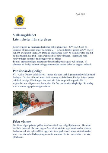 Vallsängsbladet Lite nyheter från styrelsen Pensionär ... - HSB