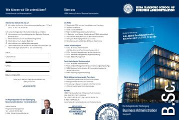 Flyer: Berufsbegleitender Bachelor Business Administration ... - HSBA
