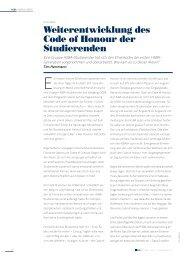Weiterentwicklung des Code of Honour, Artikel HSBA Magazin Nr. 1 ...