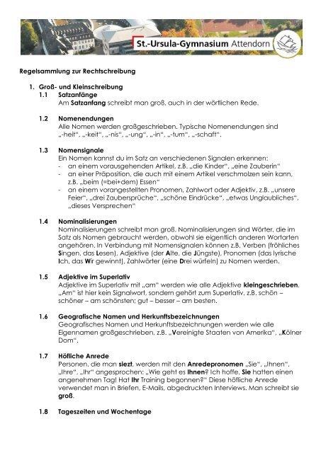 Regeln Für Die Rechtschreibung St Ursula Gymnasium