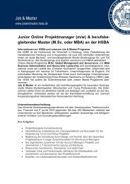 Junior Online Projektmanager (m/w) - HSBA Hamburg School of ...