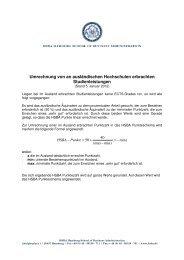 Umrechnung von an ausländischen Hochschulen ... - HSBA