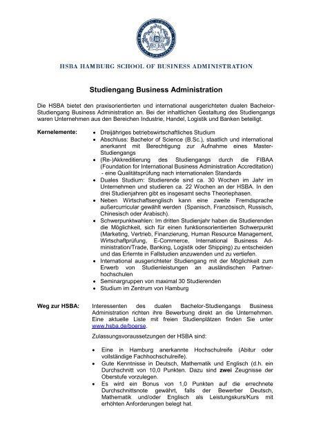 Merkblatt Business Administration PDF (149KB) - HSBA