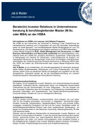 Job & Master - Berater in Investor Relations - HSBA
