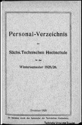 Personalverzeichnis Wintersemester 1925/26