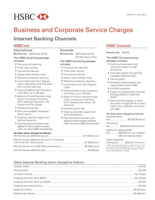 Corporate and Commercial Fee Schedule - HSBC Bermuda