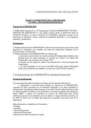 Bases y Condiciones de la promoción - Hsbc