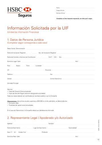 Información Solicitada por la UIF para Personas Jurídicas - Hsbc