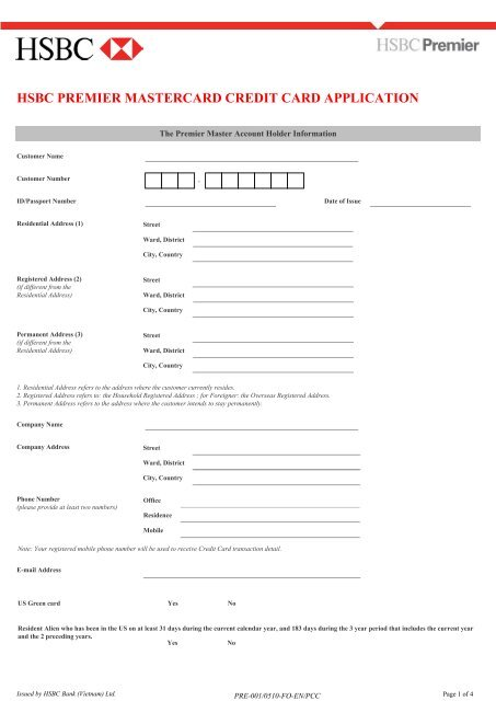 HSBC Premier MasterCard® Credit Card Application Form