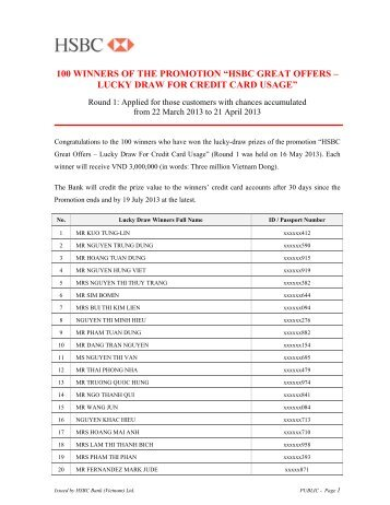"100 winners of the promotion ""hsbc great offers – lucky draw for ..."