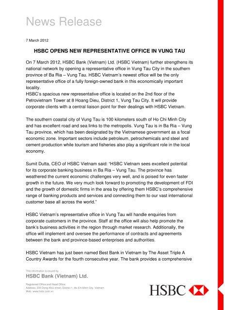 HSBC opens new representative office in Vung Tau