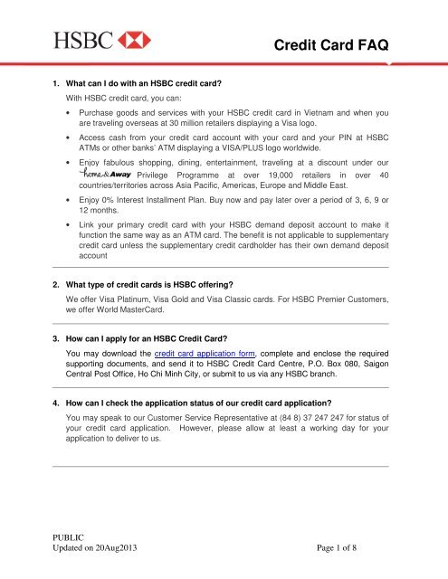 Credit Card FAQ - HSBC