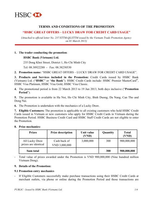 Lucky Draw Terms & Condition apply  - HSBC
