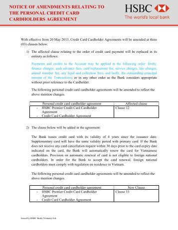 Amendment of Personal Credit Card Cardholder Agreement - HSBC