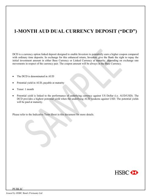 """1-MONTH AUD DUAL CURRENCY DEPOSIT (""""DCD†) - HSBC"""