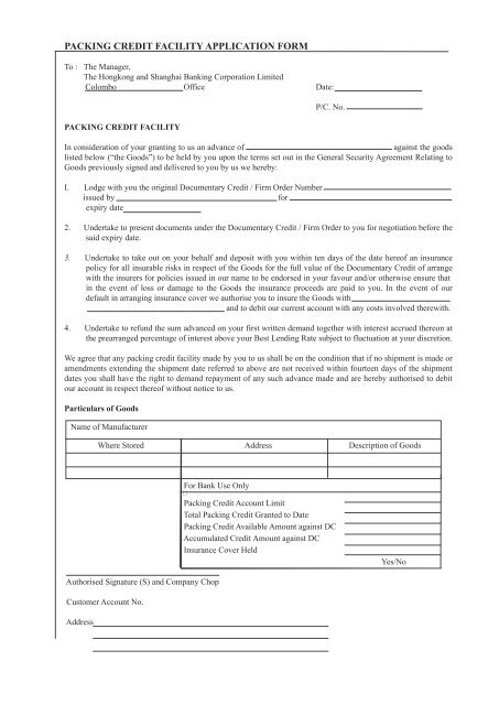 Packing Credit Facility Application Form