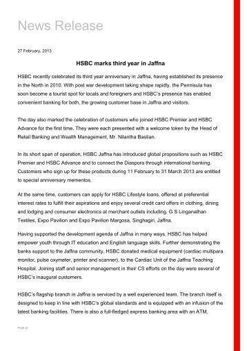 HSBC marks third year in Jaffna