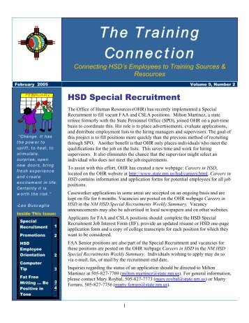 Vol. 9 No. 2 February 2005 - New Mexico Human Services Department