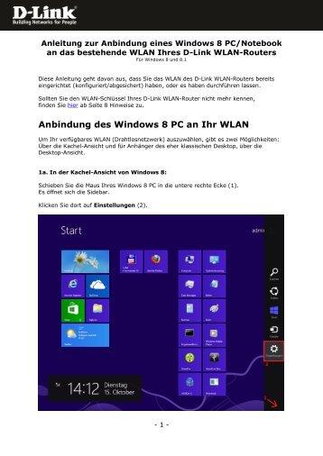 Anbindung des Windows 8 PC an Ihr WLAN - D-Link
