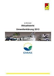 Aktualisierte Umwelterklärung 2013 - ALTEN Engineering