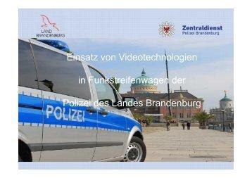 Einsatz von Videotechnologien in Funkstreifenwagen der Polizei ...
