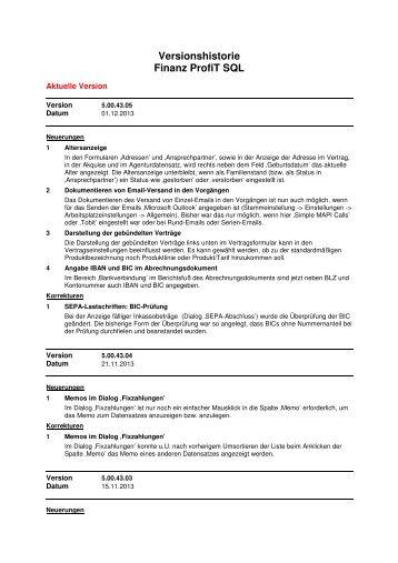 Versionshistorie Finanz ProfiT SQL - Implaneum GmbH