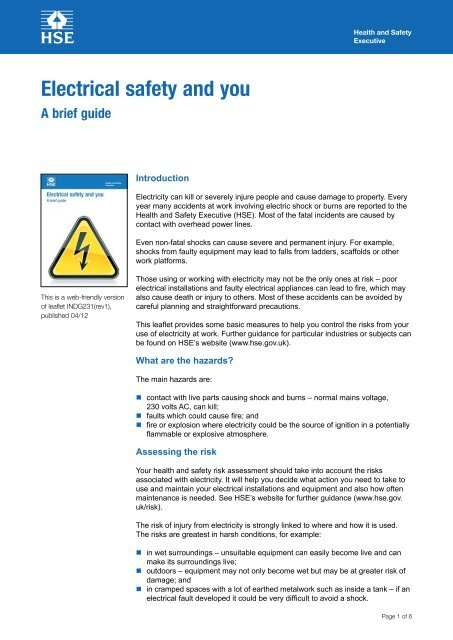 Electrical Safety And You A Brief Guide Indg231 Rev1 Hse