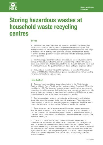 Storing hazardous wastes at household waste recycling centres - HSE