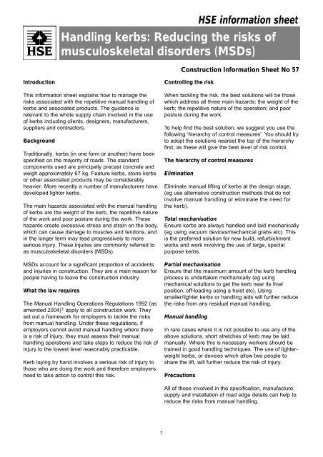 Handling Kerbs Reducing The Risks Of Musculoskeletal Hse