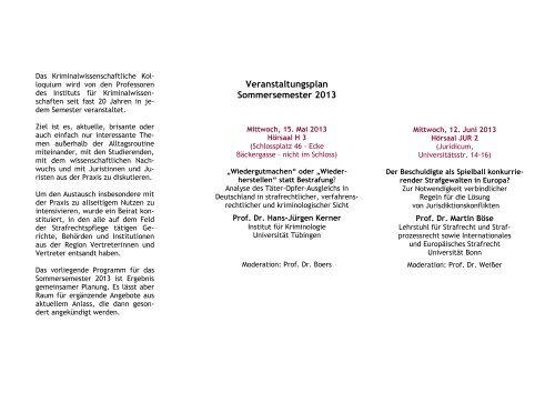 Veranstaltungsplan Sommersemester 2013