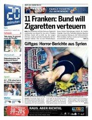 11 Franken: Bund will Zigaretten verteuern - 20 Minuten