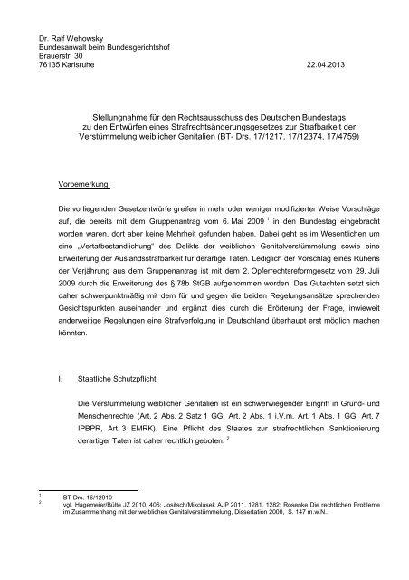 Stellungnahme Dr. Ralf Wehowsky - Deutscher Bundestag