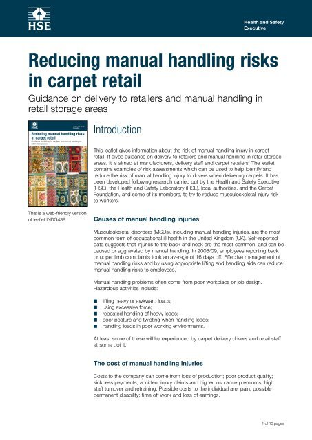 Indg439 Reducing Manual Handling Risks In Carpet Retail Hse