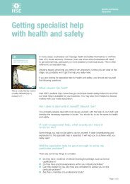 Getting specialist help with health and safety Getting ... - HSE
