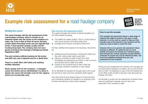 Example risk assessment: road haulage company - HSE