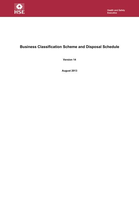Business Classification Scheme and Retention Schedule - HSE