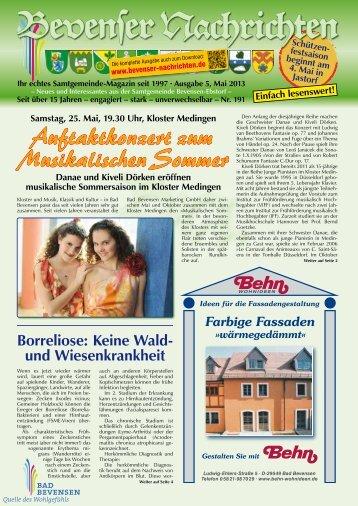 Mai 2013 - Bevenser Nachrichten
