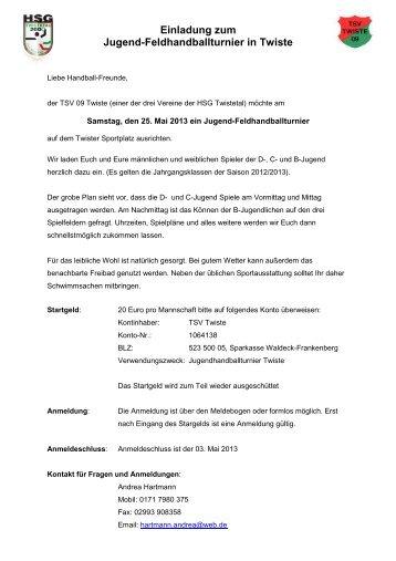 Einladung zum Jugend-Feldhandballturnier in Twiste - HSG Twistetal